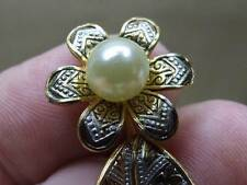 Vintage Brass & Damascene Enamel w/ Faux Pearl Flower Stalk Pin Brooch 2 1/8""