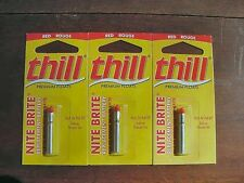 Thill Nite Brite Replacment Battery/Light, Red, 3 Sealed Packs