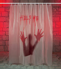 Halloween 'Help Me' Gory Bloody Shower Curtain Scary Halloween Bathroom FREE P&P