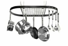 Black Oval Pot Rack Cookware Decor Kitchen Hanger Hanging Metal Storage