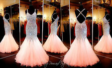 2016 Coral Mermaid Crystal Prom Dresses Beaded Sequin Long Evening Formal Gown