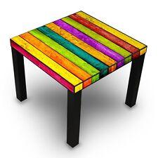 Design Beistelltisch schwarz 55x45x55cm Motiv Tisch Bunte Holzlatten Couchtisch