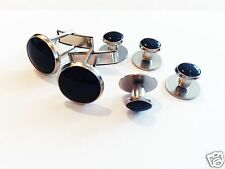 MEN'S SPECIAL OCCASION TUXEDO 2 CUFF LINKS & 4 BLACK SHIRT STUDS (NEW)