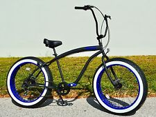 Fat Tire Beach Cruiser Bike ��Flat Black w Blue Whitewall - 7 SPEED-CUTOUT RIMS
