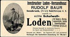 INSBRUCKER LODEN VERSANDHAUS Rudolf Baur Tirol Historische Reklame von 1911