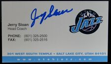 HOF COACH JERRY SLOAN UTAH JAZZ SIGNED BUSINESS CARD PSA DNA GUARANTEE AUTO NBA