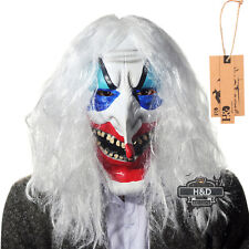 Latex Halloween Mask White Hair Clown Face Fancy Party Costume Scary Dress Props