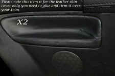 BLACK LEATHER 2X REAR DOOR CARD SKIN COVERS FITS VW GOLF MK4 IV JETTA 98-05 3DR