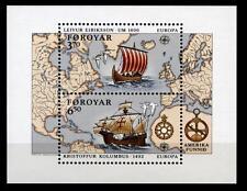 Wiking L.Eriksson und Chr.Kolumbus. Segelschiffe. Block. Färöer Inseln 1992