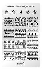 KONAD XL Square 30 Stamping Schablone Plate Nailart Weihnachten X-Mas Retro