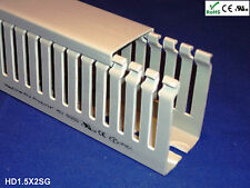 "18 New 1.5""x2""x2m Narrow Finger Open Slot Wire Cable Raceway Duct Cover,PVC,Gray"