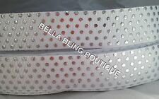 1 METRE WHITE SILVER POLKA DOT GROSGRAIN RIBBON 22MM 7/8 CAKE CARD BIRTHDAY