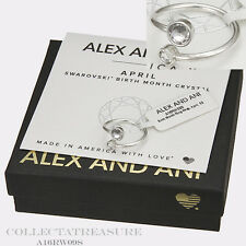 Authentic Alex and Ani April Shiny Silver Birth Month Ring