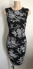 Black Print Ruch Front Wiggle Pencil Smart Office Party Shift Dress Size 8