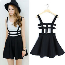 Women Mini Skirt High Waisted Waist Pleated Skater Flared Suspender Braces Dress