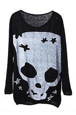 Black Long Sleeve Skull Print Loose Knitted Tee T-Shirt Sweater Jumper Top SH