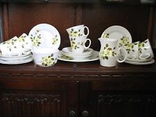 ROYAL GRAFTON VINTAGE FINE BONE CHINA TEA SET WHITE,YELLOW FLOWERS & GOLD TRIM