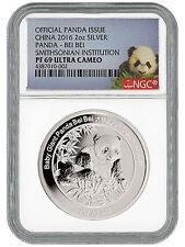 2016 China 2 Oz Proof Silver Smithsonian Panda Bei Bei NGC PF69 UC SKU40826