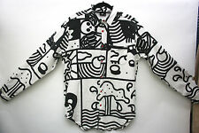 LAZY OAF Men's Printed Shirt Oversized Stretch Monochrome Size M