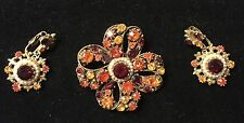RARE VINTAGE INCREDIBLE SIGNED FLORENZA BROOCH DANGLE EARRING FAUX RUBY PEARLS