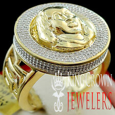 Mens Genuine Diamond Ben Franklin Face Medallion Top Ring Band 10K Gold Finish