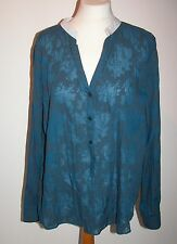 VINTAGE BLUE POLY COTTON SHEER BLOUSE WITH WHITE STAND COLLAR UK 18 FREE UK POST