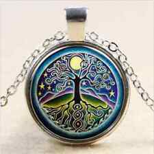 NEW Starry Full Moon Universe Tree Of Life Glass Art Pendant Chain Necklace,