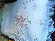 VINTAGE COTTON CANDLEWICK WHITE PINK BEDSPREAD FITTED FLORAL THICK SINGLE BED