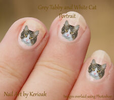 Grey Tabby with White Face, 24 Unique Designer Cat Nail Art Stickers Decals