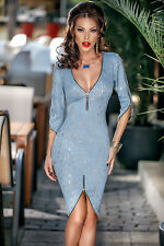 New Ladies Blue Dress Zipper Detail 1/2 Sleeved Party/Evening Wear Size UK 8-10