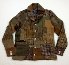 Polo Ralph Lauren Men Wood Tweed Patchwork Shawl Knit Sweater Cardigan Blazer M