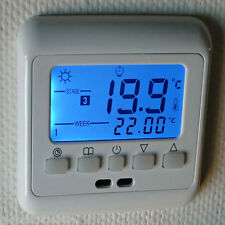 Blue LCD Display Heating Thermostat Heating Control w/ Weekly Program 16A
