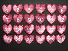 Adventskalender-Zahlen zum Aufbügeln: Zahlen 1 bis 24, Herz Stoff rot-kariert