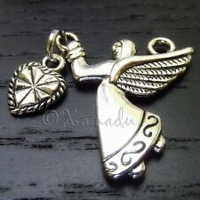 5PCs Angel With Heart Double Sided Silver Plated Wholesale Pendant Charms -C1473