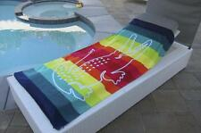 Lacoste Crocodile Stripe Rainbow Large Pool Beach Towel 36 x 72""