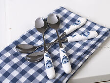 Set of 4 KATIE ALICE Vintage Indigo PORCELAIN HANDLED TEASPOONS