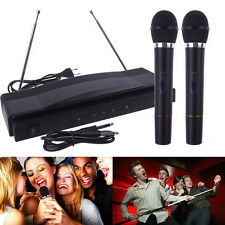 PRO WIRELESS DUAL MICROPHONE SYSTEM AUDIO HANDHELD 2 x MIC CORDLESS RECEIVER NEW