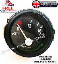 "52MM 2"" DIA BLACK 8-12-16 BAR VEHICLE AUTO VOLT VOLTMETER VOLTAGE METER CLOCK"