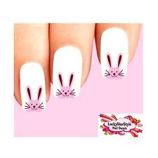 Waterslide Easter Nail Decals Set of 20 - Pink Bunny Face