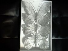 16cm x3 Decorative Glitter Jewelled Clip-on Butterfly Butterflies Wedding Silver