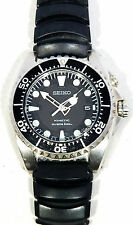 Seiko Kinetic Diver's 100m Rubber Band Black Face Mens REPAIR Watch 5M43-0A50