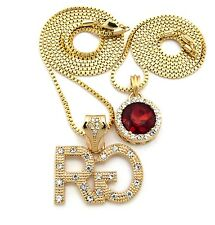 Hip Hop Iced Out Micro RG, Ruby Tone Stone Pendant Box Chain 2 Necklace Set XRC1