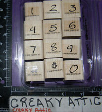 STAMPIN UP BRUSHSTROKE NUMBERS 12 RUBBER STAMPS ALPHABET
