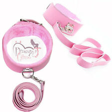 High Quality Pink Fur Bondage kinky Fetish Slave sexy Restraint Collar & Leash