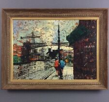 Bernard Buffet Style Oil Painting on Canvas 1960's Modernist Train Station