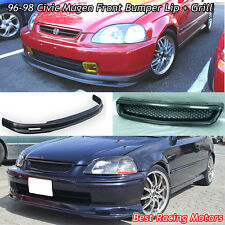 Mu-gen Style Front Lip + TR Style Grill (ABS) Fits 96-98 Honda Civic 4dr