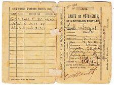CARTE DE VETEMENTS ET ARTICLES TEXTILES 1942 VERNOUX ARDECHE