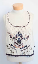 $128 nwt FREE PEOPLE sz S DESERT WONDER embroidered eyelet knit tank in OATMEAL