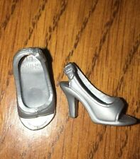 Barbie Silver Open Toe Shoes Sling Back High Heels Sandals Pumps Glam Accessory