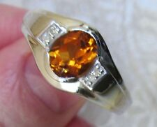 Men's Madeira Citrine & Diamond Ring, 925 Sterling Silver, sz 9.5 -- 1.79ct, 7g